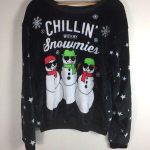Ugly Christmas Sweater Soft Fuzzy Black Snowmen